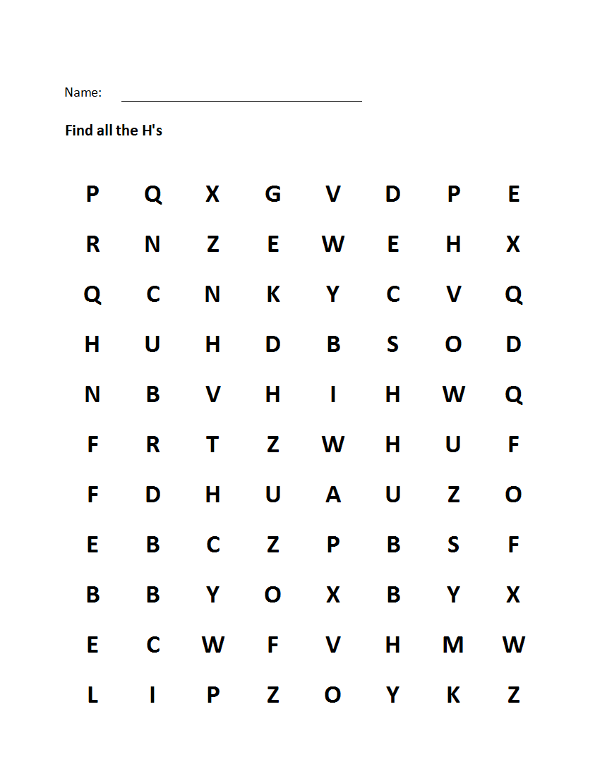 "Printable Visual Scanning ""Letter H"" Worksheet"