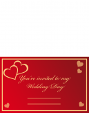 Red Hearts Wedding Printable Cards
