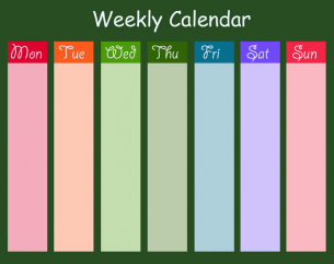 Printable Bright Green Weekly Calendars