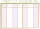 Printable Brown Weekly Calendar
