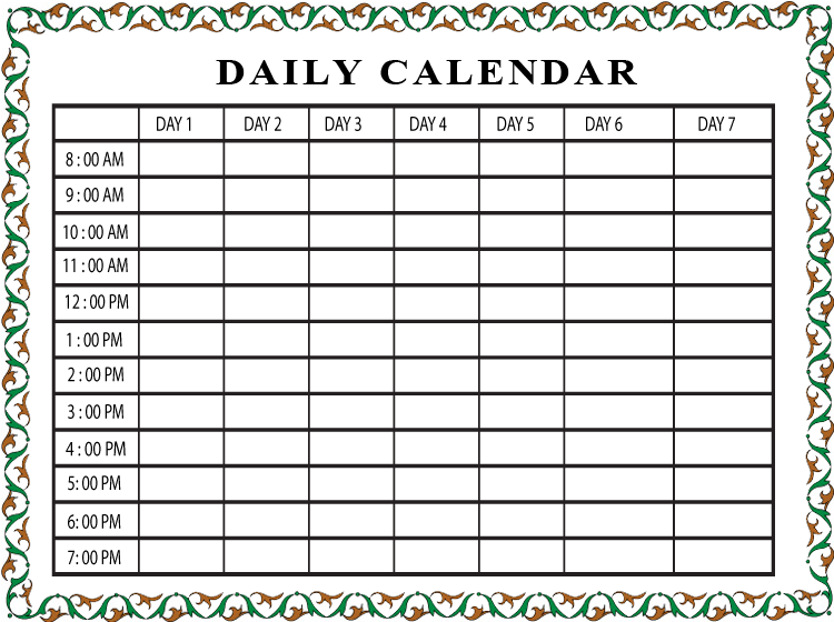 Printable Daily Schedule Calendar