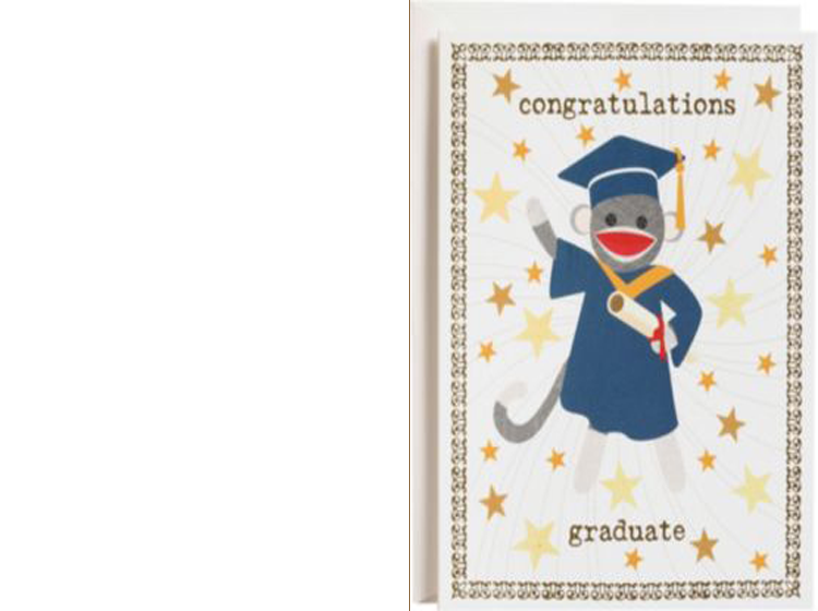 Printable Sock Monkey Graduation Cards