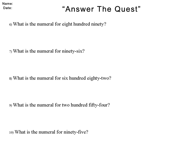 Answer The Quest Worksheet