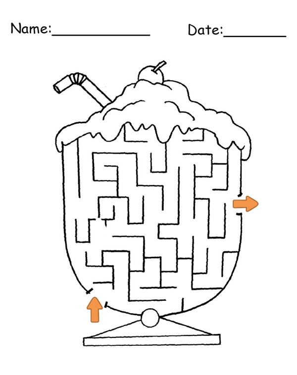 Printable Ice Cream Shaped Maze Game