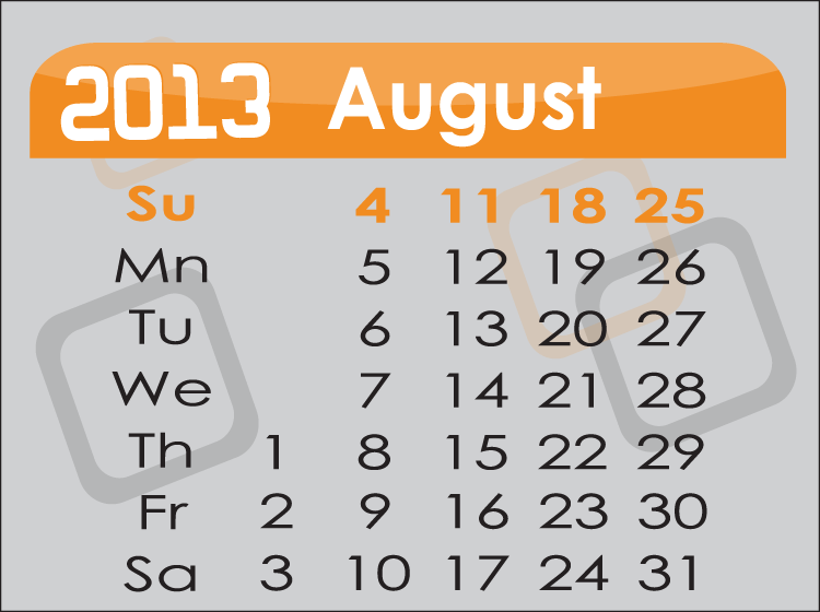 Printable Days Of The Month Calendars
