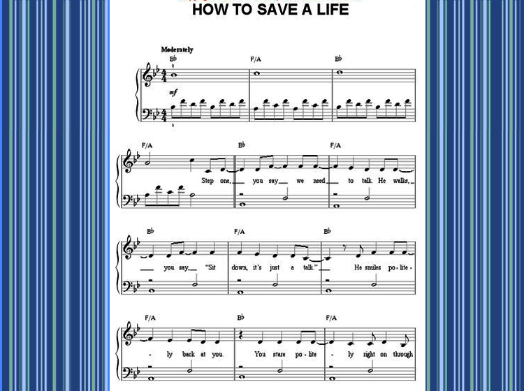 How to Save a Life Piano Music