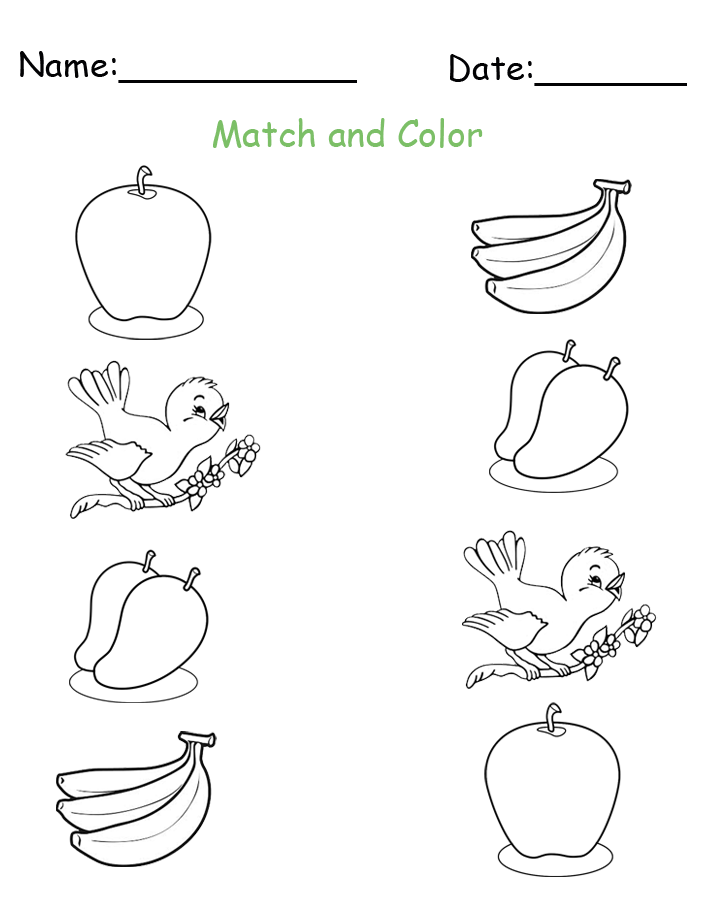 Free Printable Match and Color Worksheet