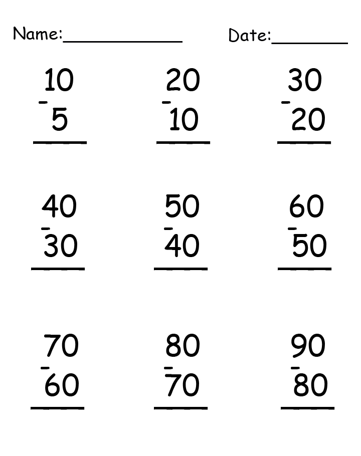 Helpful Subtraction Worksheet