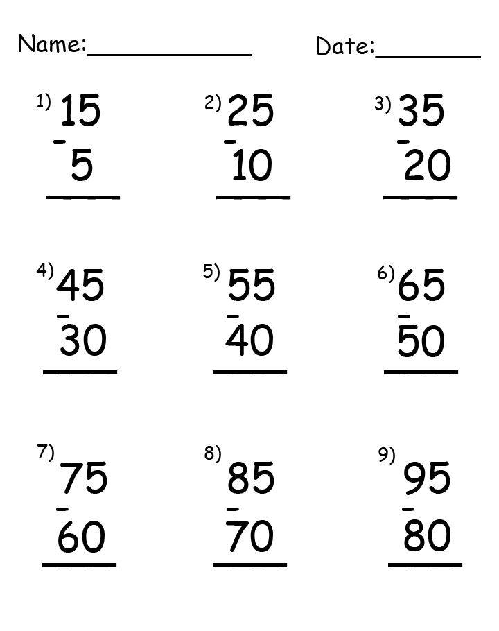 Subtraction Up to 95 Printable Worksheets