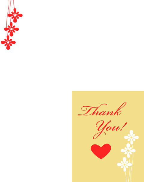 Printable Hearts Thank You Cards