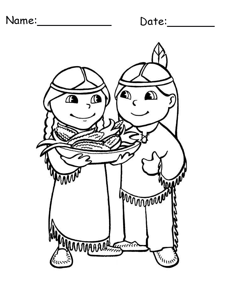 Thanksgiving Native American Boy and Girl Printable Coloring Page